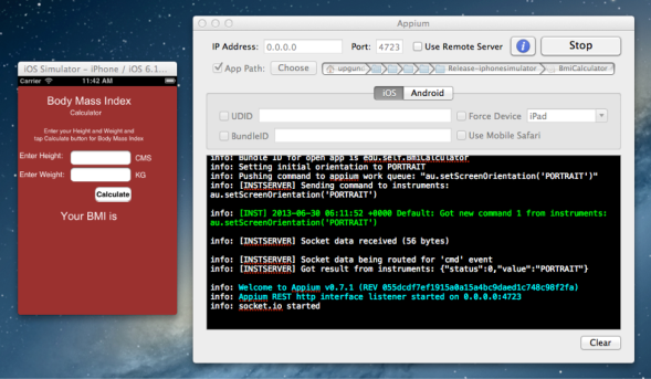 Appium.app running on Mac
